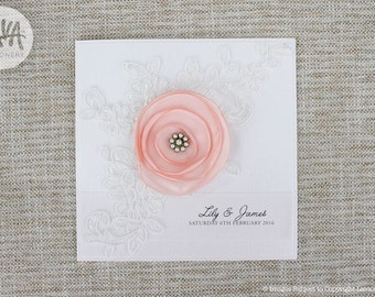 Lily Invitation SAMPLE - White Lace Invitation with Satin Flower