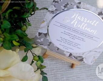 Harriett Invitation SAMPLE - Floral White Silver Foil Designer Paper Circle Wedding Invitation