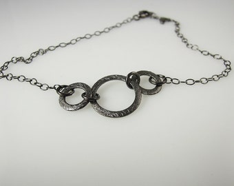 Ankle Bracelet with 3 Black Oxidized Sterling Silver Rings