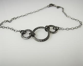 Sterling Silver-Anklet-Black Oxidized-Acid Washed