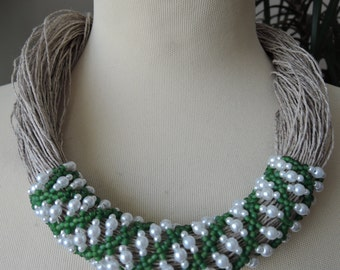 Linen green white openwork beaded rope necklace