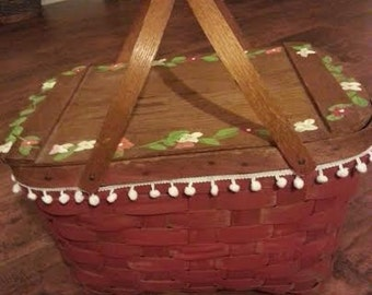 Vintage Picnic Basket - Wood Picnic Basket - Picnic Basket - Red Picnic Basket - Large Picnic Basket - Valentines Day Gift - Gift for her