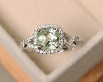 Green amethyst ring, cushion cut ring, sterling silver, green amethsyt