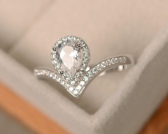 White topaz ring, pear cut ring, natural white topaz, silver