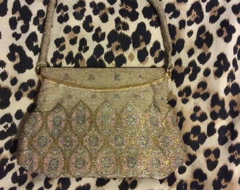 Beautiful antique hand beaded langlois & jargeais French purse