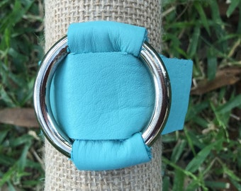 Silver ring leather cuff