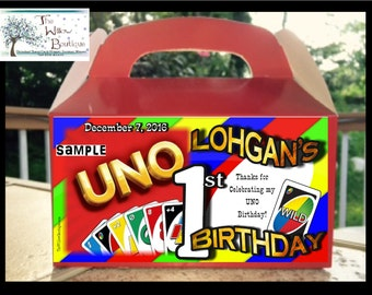 Personalized First UNO BIRTHDAY Goody Box Loot Favors