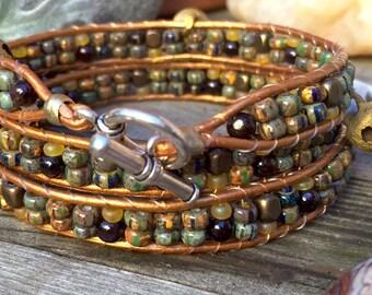 channel wrap bracelet - czech picasso beads