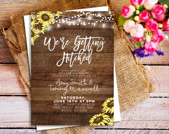 Were getting hitched invitation, sunflower wedding country invitations, Rustic chic invites, fairy lights invitations, Printable Wedding DIY