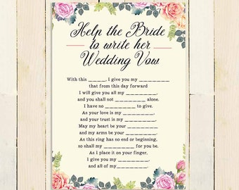 Awesome Wedding Vow Mad Libs Photos - Styles & Ideas 2018 ...
