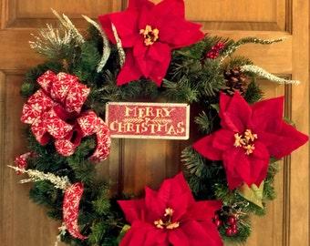 Christmas wreath, holiday wreath, poinsetta wreath, holiday decor, front door wreath