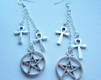 Ankh and Pentagram dangling earrings, silver plated, Pagan, Wicca, Egyptian