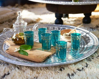 Hand-painted Motifs Moroccan Tea Glasses, Green(Set of 6)