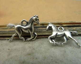 25 Galloping Horse Charms Antique Silver Tone