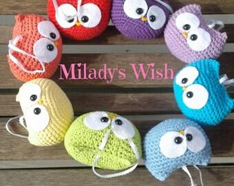 Rainbow Owl Parade Crochet Ornaments
