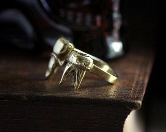 Teeth Ring original made and design by Defy / Unique handmade Jewelry / Adjustable Brass Ring