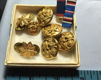 Lot Of Old Military Buttons And Bars