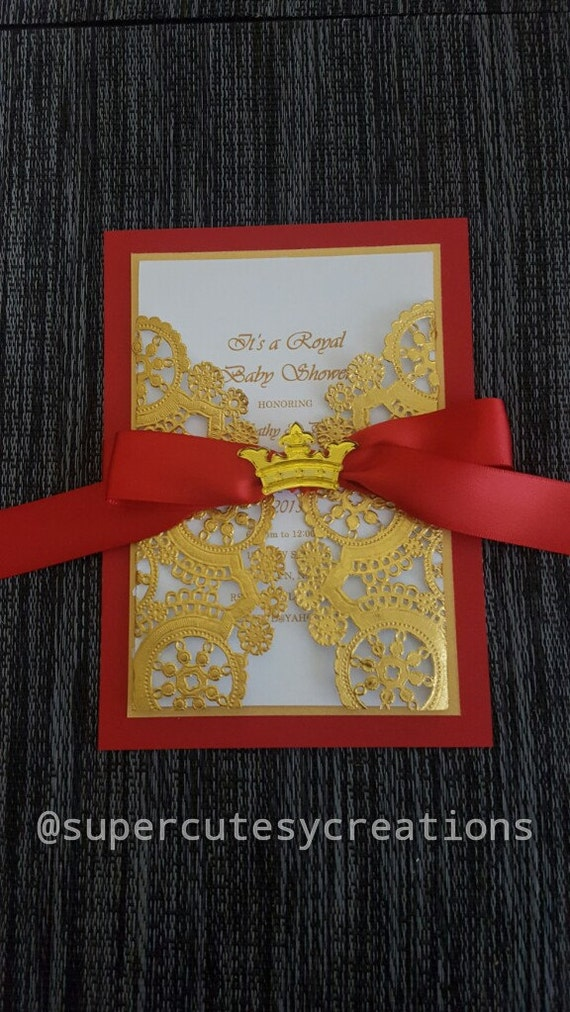 royal red and gold baby shower invitations min order of 20