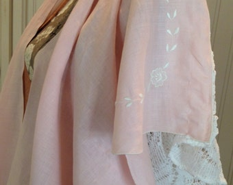 Vintage up-cycled Linen & Lace Kimono, pink linen, off white lace, embroidered, easy fit, large size