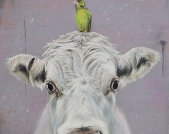 Cow print, cow art, cow and bird picture, print of original art, white cow and greenfinch,