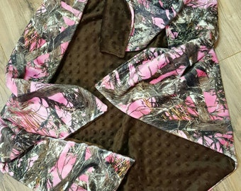 Pink Camo Minky Baby Blanket- camo baby blanket, crib bedding, baby bedding, security blankey, cuddle blanket, baby shower gift, baby girl