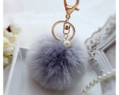 Grey Fashion Fluffy Imitation Rabbit Fur Pom Pom, Fur Pom Ball Bag Charms, Pom Pom Ball Keychain