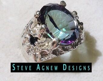 Sea Blue Quartz and Sapphire Ring