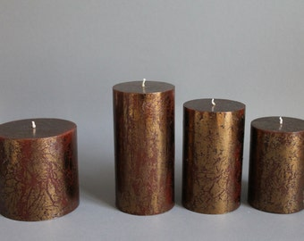 Copper - Brown pillar candle handmade solid colours in 4 sizes