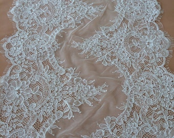 White Lace trimming, corded  chantilly  Lace Trim, MB0005