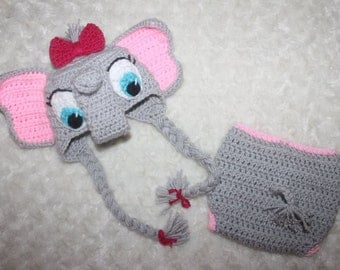 Baby Elephant hat with Diaper cover// Pink and Gray baby elephant hat// Baby photography photo props// Newborn baby elephant photo props