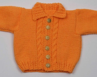 Girls Aran Cardigan with Collar