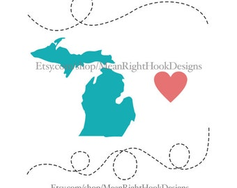 Michigan SVG state silhouette, heart svg, and dotted lines INSTANT DOWNLOAD vector files for cutting machines - svg, png, dxf, eps
