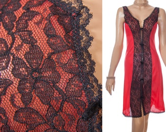 Delightful silky soft really sheer lipstick red Perlon and delicate floral design sexy black lace detail 1960's vintage full slip - S269