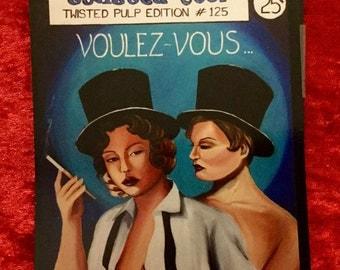 Burlesque, retro, lesbian, vintage, low brow cover art, postcard size magnet
