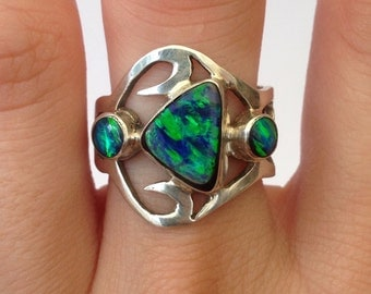 Sterling Silver & Turquoise Opal Stone Ring - Adjustable - Size US 8