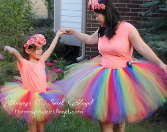 Mommy and Me tutu. Very full and fluffy. Mother and Daughter skirts. Cute photo props. Special occasion matching tutu. Pick any colors!!!!
