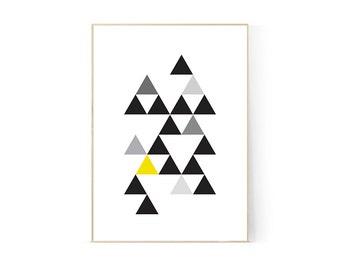 Geo Yellow Printable, A4, Wall Art, Triangles, Geometric, Monochrome, Mustard