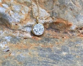 Tiny Silver Druzy Necklace (8mm)