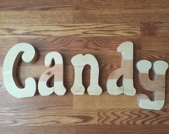 Candy Unfinished Wood Letter Set, Unfinished Wood Letter Set, Candy Store Decor, Halloween Decor, Valentine Decor, **Only 1 Set Available**
