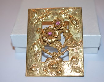 Miriam Haskell layered brooch pin/ Miriam Haskell open work repousse brooch pin
