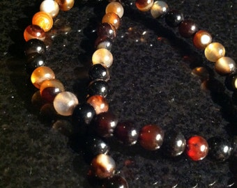 "16.5"" Full Strand 6mm Round Agate Beads Varying Shades of Browns Earth Tones Natural Stone (ID BB 1-18)"