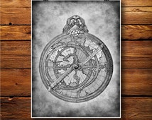 Compass Print, Direction Decor, Vintage Illustration, Astrolabe Poster  BW465