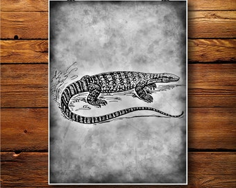 Lizard Print, Reptile Decor, Crocodile Poster, Vintage art   BW518