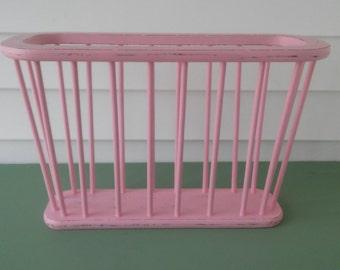 A Vintage 1960's Wood Up-Cycled Pink Modern Danish Magazine/Newspaper Rack