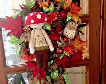 Fall Wreath, Thanksgiving Wreath with Owl, Crochet Mushroom LALYLALA, Crochet Wreath, Paper Mesh Wreath, Indoor Home Decor, Fall Decoration