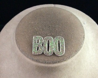 Vintage Halloween Sparkly Enameled BOO Pin