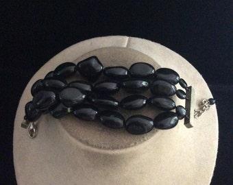 Vintage Wide Chunky Black Beaded Bracelet