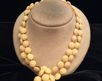Vintage Long Tan Textured Beaded Necklace