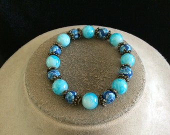 Vintage Shades Of Blue & White Hand Painted Floral Glass Beaded Bracelet