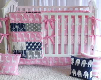 Giraffes on Pink and Navy, modern nursery, safari, elephants, giraffe,  girl nursery, crib bedding, crib set, fitted sheet, customer bedding